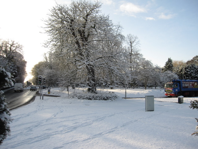 Overleigh Roundabout in the snow