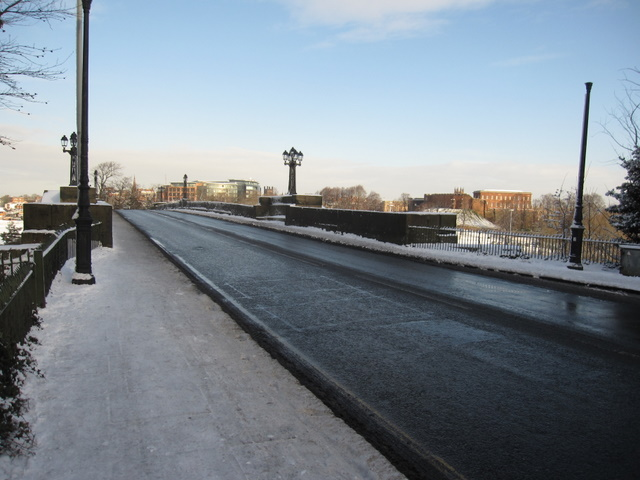 Grosvenor Bridge in the snow