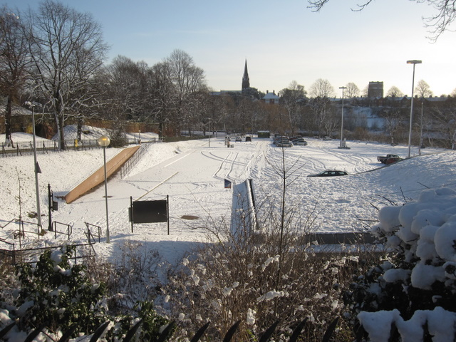The Little Roodee car park in the snow