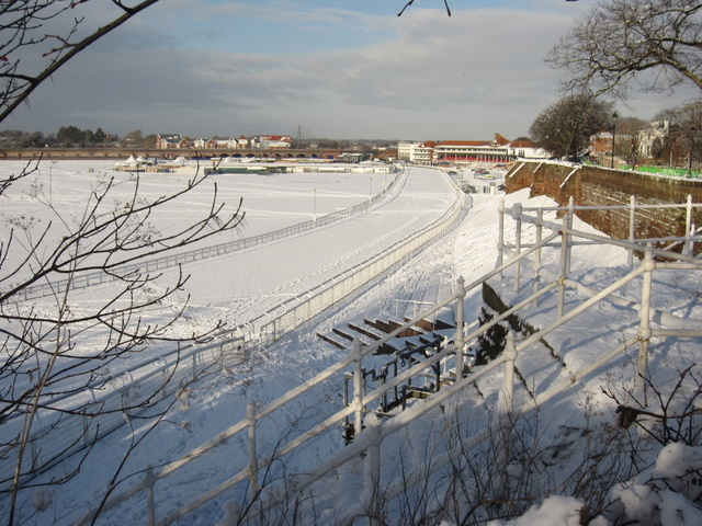 The Roodee Racecourse in the snow
