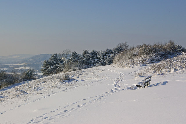 Colley Hill in snow