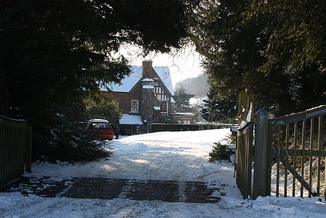 Entrance to Little Malvern Court in the snow