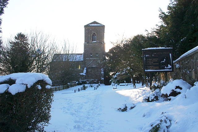 Little Malvern Priory church in the snow