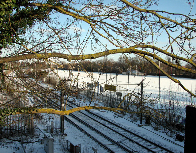 Railway and Sports Ground in the snow