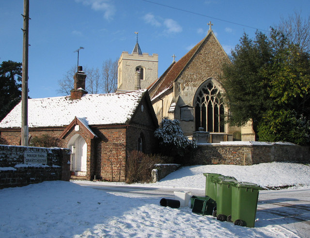 Grantchester: St Mary and St Andrew in the snow