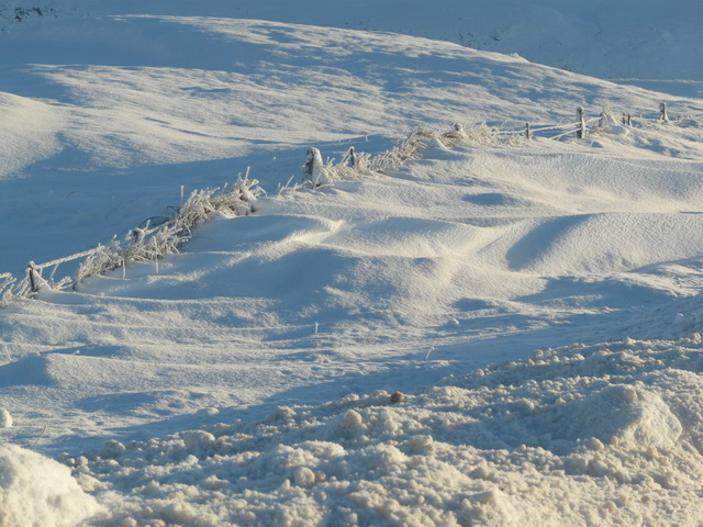 Snowdrifts by the A835