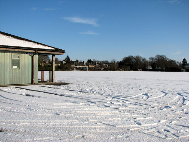 Downing College Sports Ground in the snow