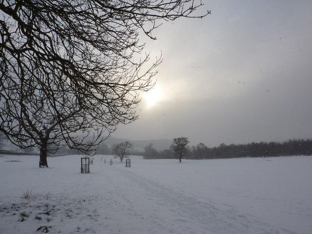 Weak winter sun on footpath to Beeley