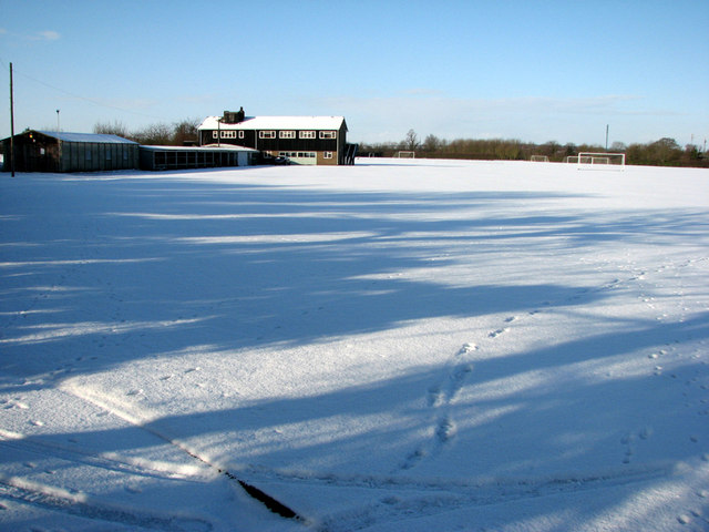 King's & Selwyn Colleges' Sports Ground in the snow