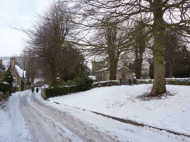 St Anne's Church and footprints in the snow