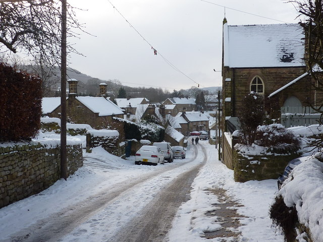 Village street in the snow, Beeley