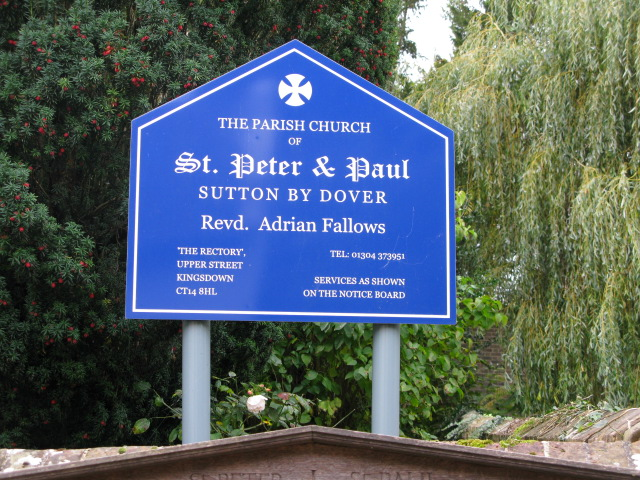 Church board for St Peter and St Paul, Sutton by Dover