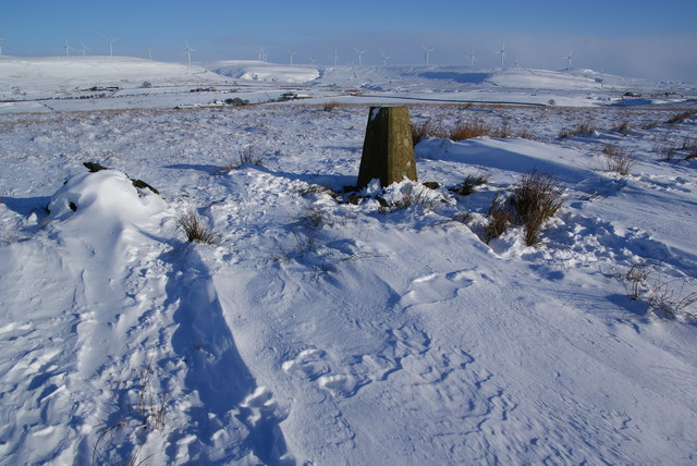 The trig point on Harden Moor