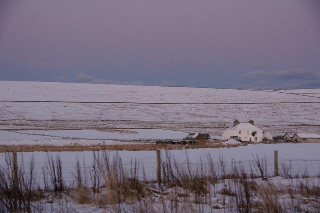 Hillsgarth, Baltasound, in snow at dusk