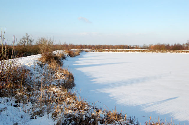 Snow-covered ice on Napton reservoir