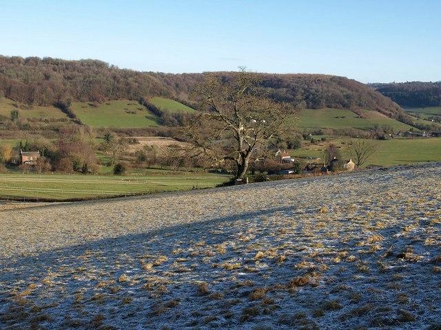 Frosty field above Waterley Bottom