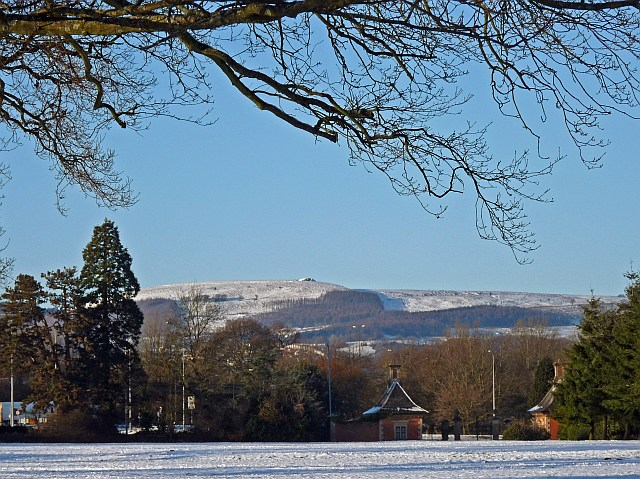Snowy view north-west from Tredegar House Country Park