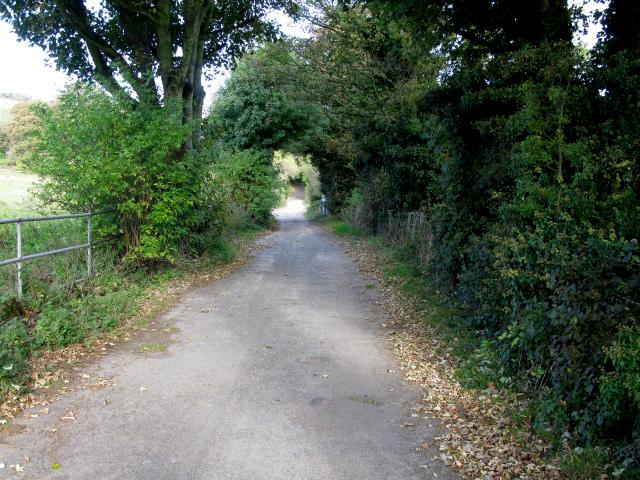 View along North Downs Way and farm road