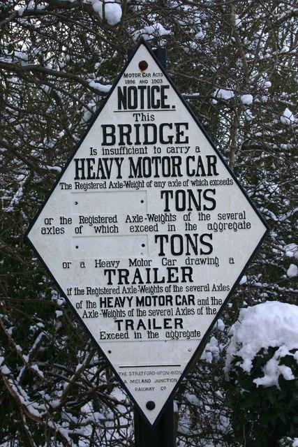 Sign on bridge over dismantled railway, Kineton