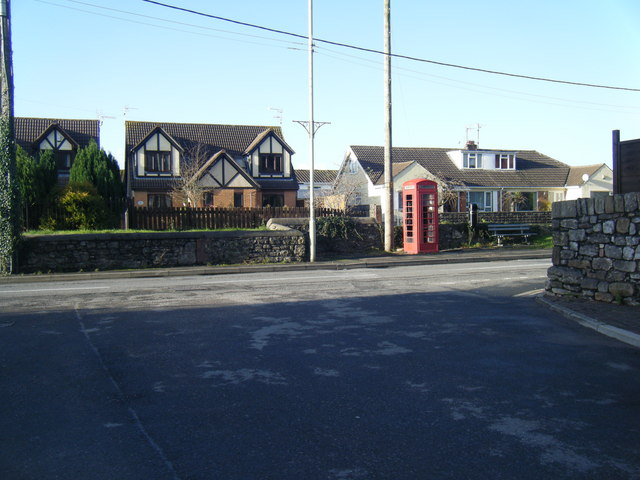 Porthcawl Road, South Cornelly, showing phonebox.