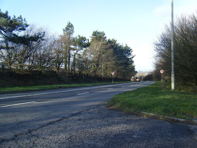 A48 looking towards Pyle from lay-by exit.