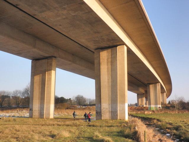 Beneath the M5 motorway, near Exminster