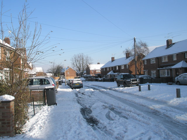 Mid section of a snowy Grateley Crescent