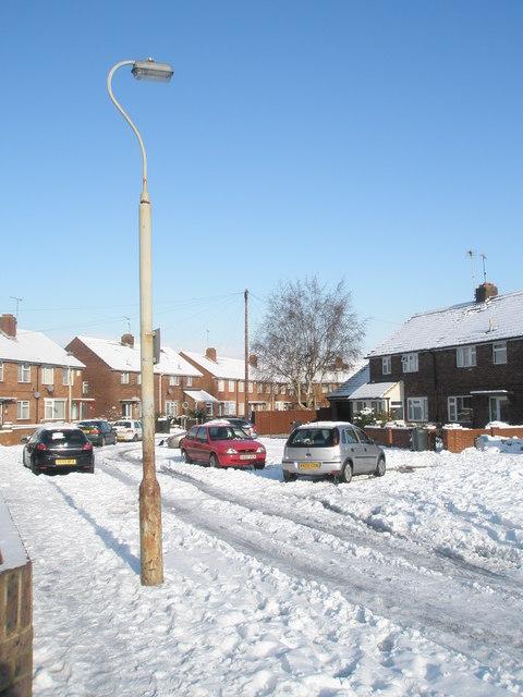 A snowy Crookham Close