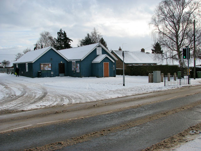 Poringland village hall in the snow