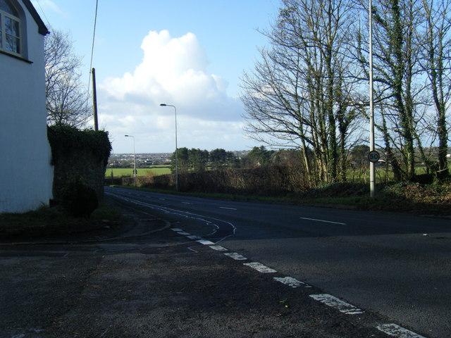 A4106 Bridgend Road, looking towards Porthcawl.