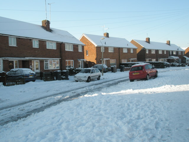 Snow covered homes in Keyhaven Drive