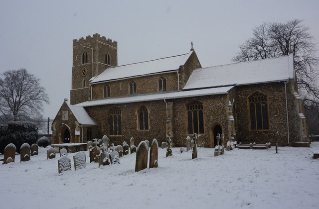 Sproughton church in the snow