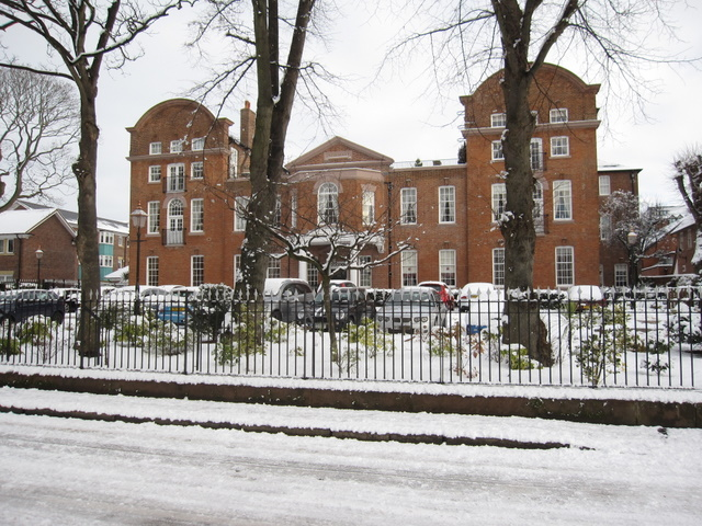 Former Chester Infirmary in the snow