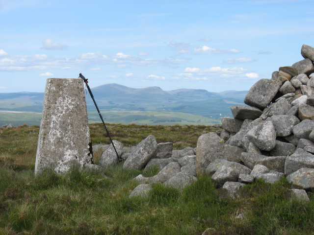 Summit trig and cairn on Cairnsmore of Dee