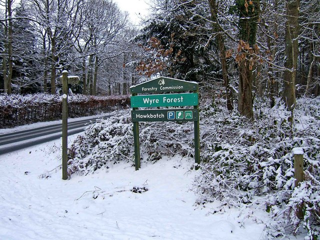Wyre Forest - Forestry Commission sign at main entrance to Hawkbatch