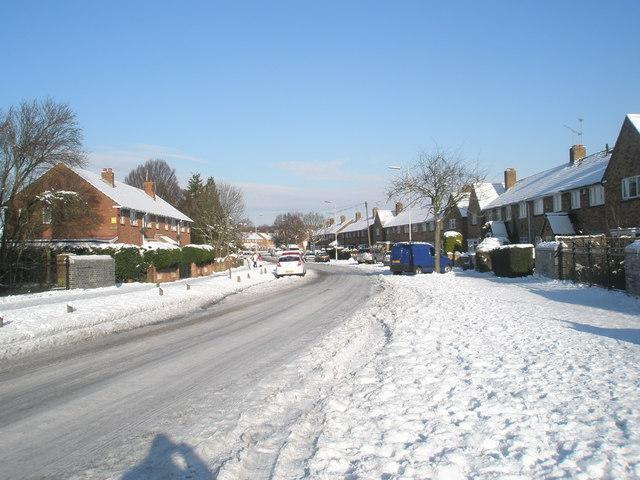 Park House Farm Way after January snow