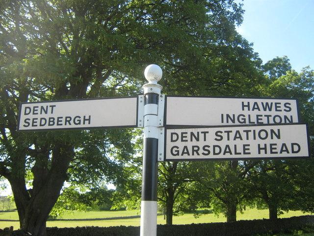 Signpost outside Dent, Dentdale, Cumbria