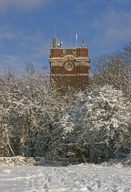 Colley Hill Water Tower in snow