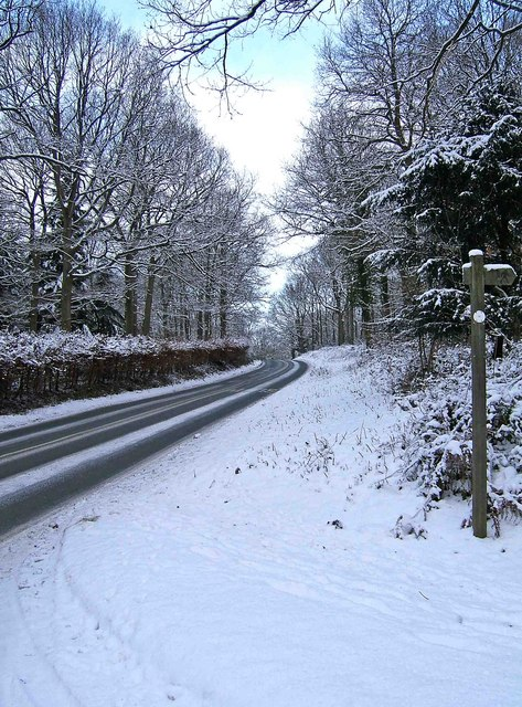 A winter landscape on the B4194 road at Hawkbatch on its way to Buttonoak