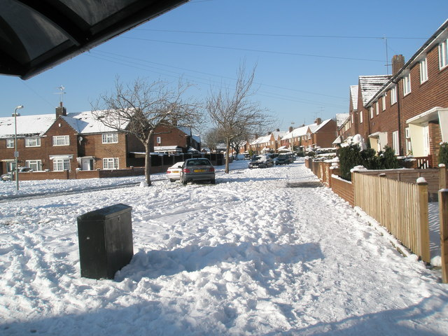 A snowy pavement in Quarely Road