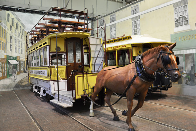 'Horse'- drawn tram at the Crich Tramway Museum