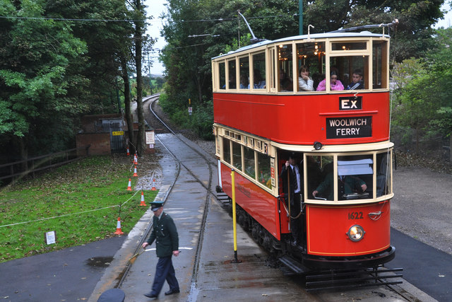 Leaving the single track at Crich Tramway Museum