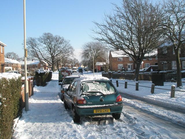 Snowy conditions in Selborne Avenue