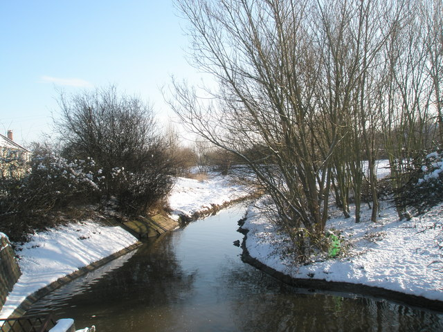 The Hermitage Stream as seen from Middle Park Way after January snow