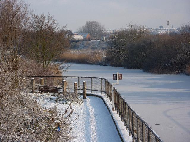 River east of railway bridge