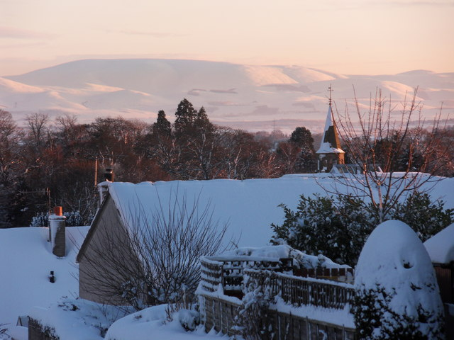 Rooftops, church steeple and the Cheviots