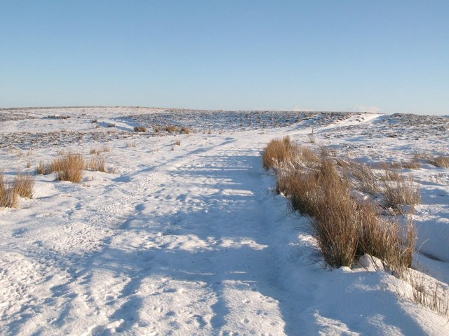 Snowy moorland and tracks below Crawberry Hill