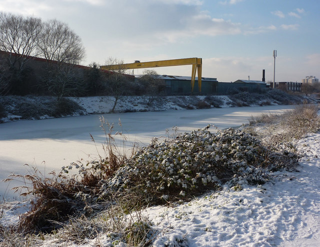 Industrial area across the river Gipping