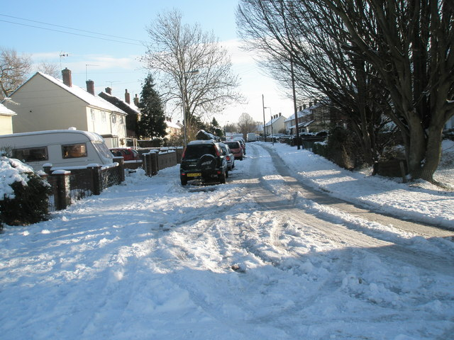 Mid section of a snowy Priorsdean Crescent