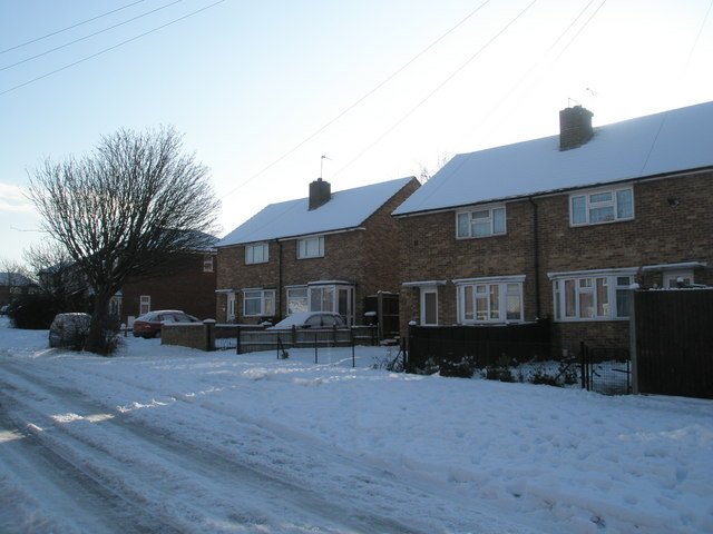 Snow covered homes in Barncroft Way